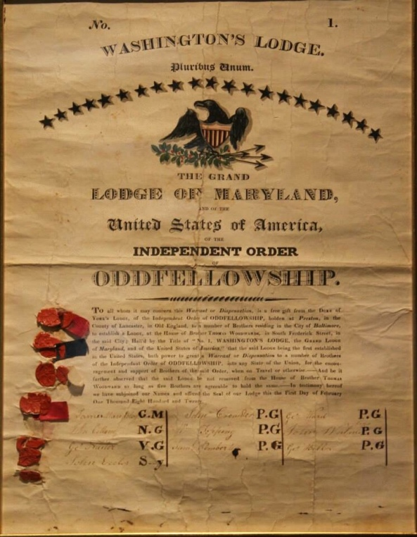 Original Charter from Feb. 1820 establishing the Grand Lodge of Maryland
